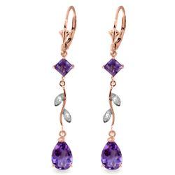 Genuine 3.97 ctw Amethyst & Diamond Earrings Jewelry 14KT Rose Gold - REF-44Y9F