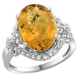 Natural 5.89 ctw quartz & Diamond Engagement Ring 14K White Gold - REF-86N5G