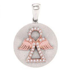 0.12 CTW Diamond Angel Medallion Pendant 10KT Two-tone Gold - REF-6M6H