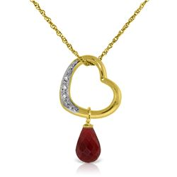 Genuine 3.33 ctw Ruby & Diamond Necklace Jewelry 14KT Yellow Gold - REF-46M2T