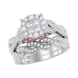 1 CTW Princess Diamond Soleil Bridal Engagement Ring 14KT White Gold - REF-134X3Y
