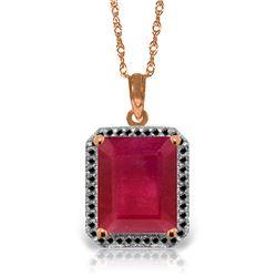 Genuine 7.45 ctw Ruby & Black Diamond Necklace Jewelry 14KT Rose Gold - REF-105W5Y