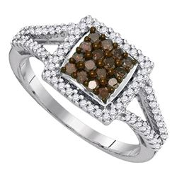 0.50 CTW Cognac-brown Color Diamond Square Cluster Ring 10KT White Gold - REF-25M4H