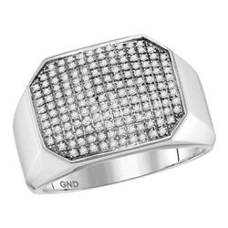 0.50 CTW Mens Pave-set Diamond Octagon Cluster Ring 10KT White Gold - REF-57N2F