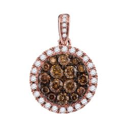 1.01 CTW Brown Diamond Circle Cluster Pendant 14KT Rose Gold - REF-83N9F