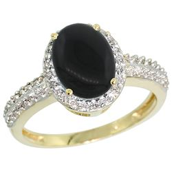 Natural 1.95 ctw Onyx & Diamond Engagement Ring 10K Yellow Gold - REF-30W2K