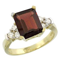 Natural 2.86 ctw garnet & Diamond Engagement Ring 10K Yellow Gold - REF-54A7V