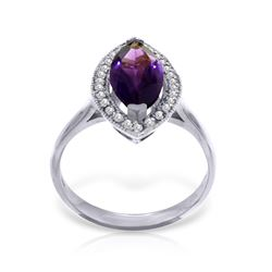 Genuine 1.80 ctw Amethyst & Diamond Ring Jewelry 14KT White Gold - REF-70M5T