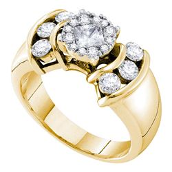 1 CTW Princess Diamond Soleil Cluster Bridal Engagement Ring 14KT Yellow Gold - REF-132N2F