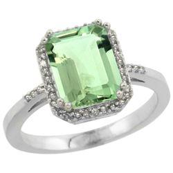 Natural 2.63 ctw green-amethyst & Diamond Engagement Ring 14K White Gold - REF-42K8R
