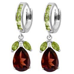 Genuine 14.3 ctw Garnet & Peridot Earrings Jewelry 14KT White Gold - REF-93X3M