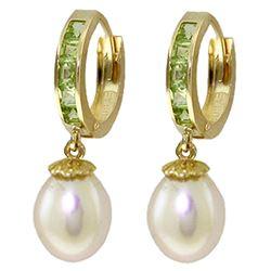 Genuine 9.3 ctw Peridot & Pearl Earrings Jewelry 14KT Yellow Gold - REF-44Y4F
