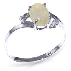 Genuine 0.45 ctw Opal Ring Jewelry 14KT White Gold - REF-21T9A