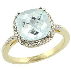 Natural 3.11 ctw Aquamarine & Diamond Engagement Ring 10K Yellow Gold - REF-51H3W