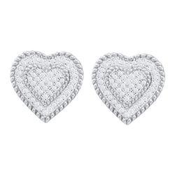 0.33 CTW Diamond Heart Screwback Earrings 10KT White Gold - REF-30N2F