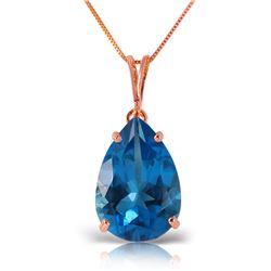 Genuine 6.5 ctw Blue Topaz Necklace Jewelry 14KT Rose Gold - REF-31W6Y