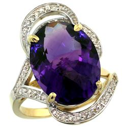 Natural 11.23 ctw amethyst & Diamond Engagement Ring 14K Yellow Gold - REF-104M5H