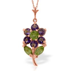 Genuine 1.06 ctw Amethyst & Peridot Necklace Jewelry 14KT Rose Gold - REF-25V3W