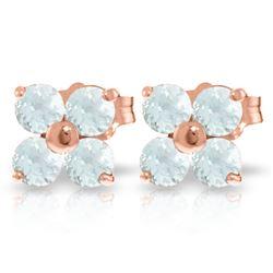 Genuine 1.15 ctw Aquamarine Earrings Jewelry 14KT Rose Gold - REF-22X2M