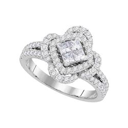 0.87 CTW Princess Diamond Cluster Ring 14KT White Gold - REF-112N5F