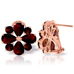 Genuine 4.85 ctw Garnet Earrings Jewelry 14KT Rose Gold - REF-58H4X