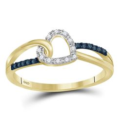0.11 CTW Blue Color Diamond Captured Heart Ring 10KT Yellow Gold - REF-14X9Y