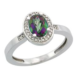 Natural 1.08 ctw Mystic-topaz & Diamond Engagement Ring 14K White Gold - REF-31Y3X