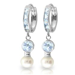 Genuine 4.3 ctw Aquamarine & Pearl Earrings Jewelry 14KT White Gold - REF-52X9M