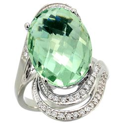 Natural 11.2 ctw green-amethyst & Diamond Engagement Ring 14K White Gold - REF-95R8Z