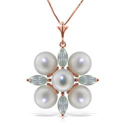 Genuine 6.3 ctw Aquamarine & Pearl Necklace Jewelry 14KT Rose Gold - REF-60P4H