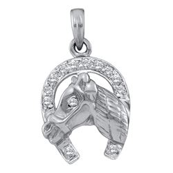 0.10 CTW Diamond Lucky Horseshoe Horse Head Pendant 14KT White Gold - REF-19M4H