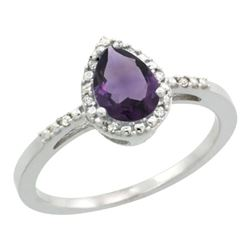 Natural 1.53 ctw amethyst & Diamond Engagement Ring 14K White Gold - REF-25N5G