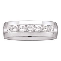 1.5 CTW Mens Channel-set Diamond Wedding Ring 14KT White Gold - REF-269K9W