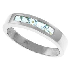 Genuine 0.50 ctw Aquamarine Ring Jewelry 14KT White Gold - REF-47T2A