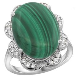 Natural 14.23 ctw malachite & Diamond Engagement Ring 14K White Gold - REF-107F6N