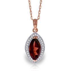 Genuine 2.15 ctw Garnet & Diamond Necklace Jewelry 14KT Rose Gold - REF-62Y3F