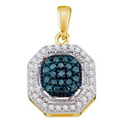0.20 CTW Blue Color Diamond Square Cluster Pendant 10KT Yellow Gold - REF-18N2F