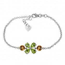 Genuine 3.15 ctw Peridot & Citrine Bracelet Jewelry 14KT White Gold - REF-56A4K