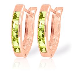 Genuine 1 ctw Peridot Earrings Jewelry 14KT Rose Gold - REF-24X3M