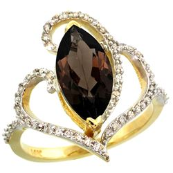 Natural 3.33 ctw Smoky-topaz & Diamond Engagement Ring 14K Yellow Gold - REF-77W5K