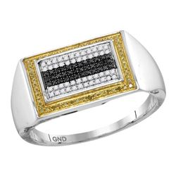 0.26 CTW Mens Black Yellow Color Diamond Rectangle Cluster Ring 10KT White Gold - REF-34F4N