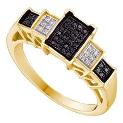 0.15 CTW Black Color Diamond Rectangle Cluster Ring 10KT Yellow Gold - REF-22F4N