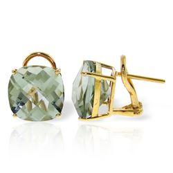 Genuine 7.2 ctw Green Amethyst Earrings Jewelry 14KT Yellow Gold - REF-46M5T
