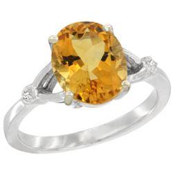 Natural 2.41 ctw Citrine & Diamond Engagement Ring 10K White Gold - REF-24K6R