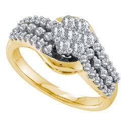 0.75 CTW Diamond Flower Cluster Ring 14KT Yellow Gold - REF-82F4N