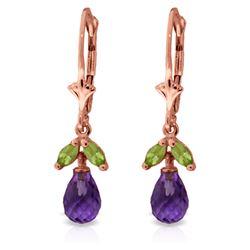Genuine 3.4 ctw Amethyst & Peridot Earrings Jewelry 14KT Rose Gold - REF-26V6W