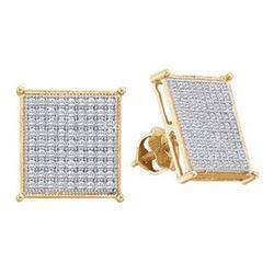 0.50 CTW Diamond Square Cluster Screwback Earrings 10KT Yellow Gold - REF-33K8W