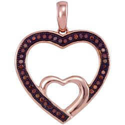 0.12 CTW Red Color Diamond Nested Double Heart Pendant 10KT Rose Gold - REF-14H9M