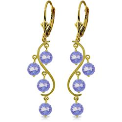 Genuine 4 ctw Tanzanite Earrings Jewelry 14KT Yellow Gold - REF-74R2P