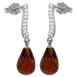 Genuine 4.78 ctw Garnet & Diamond Earrings Jewelry 14KT White Gold - REF-46F2Z